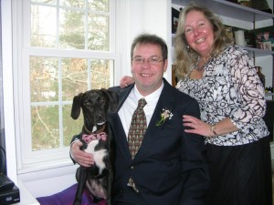 "Eli was proud to be ""Best Dog"" when his new family eloped on New Year's Day."